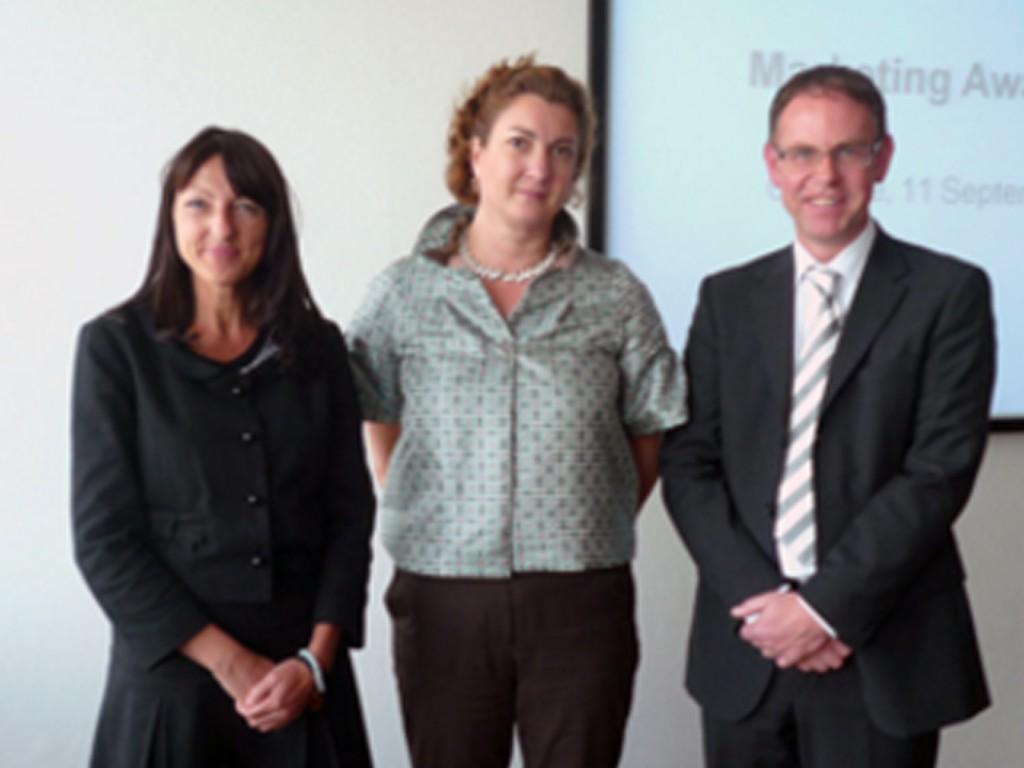 From Left to right: Ania-Virginia Kleinbichler, Director Visitor Marketing, Messe Frankfurt Katharina Hamma, Chair of the UFI Marketing Committee, Michael Reichhold, Director Paperworld, Messe Frankfurt