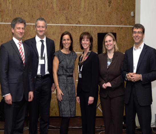 Left to right: Andreas Winckler (Chair, UFI Operations Committee/Messe Frankfurt GmbH), Marko Boscos (BF Servizi), Kathryn Knowles (BF Servizi), Katy Wild (Freeman), Rowena Arzt (Secretary UFI ICT Committee), Salvador Tasqué (Fira de Barcelona).