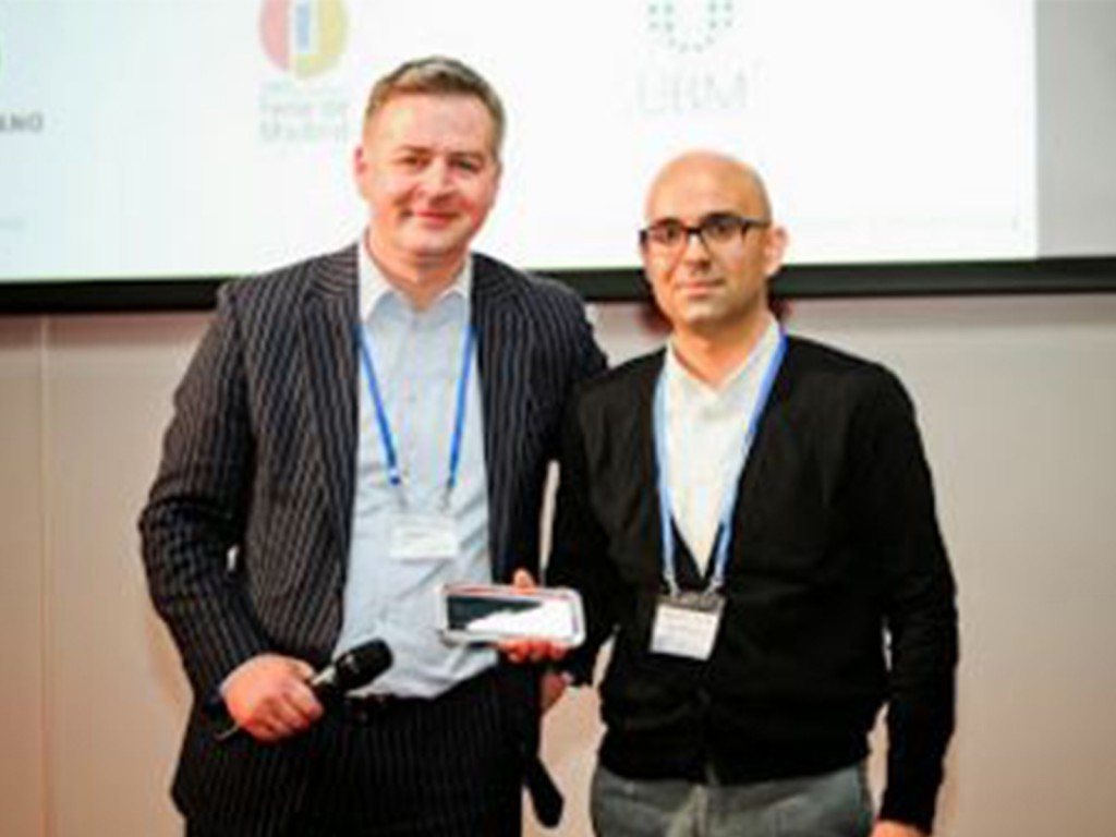 (Left to Right) Matthias Tesi Baur, Vice-Chair of the UFI ICT Committee with the 2014 UFI ICT award winner IFEMA's Rubén Rodríguez