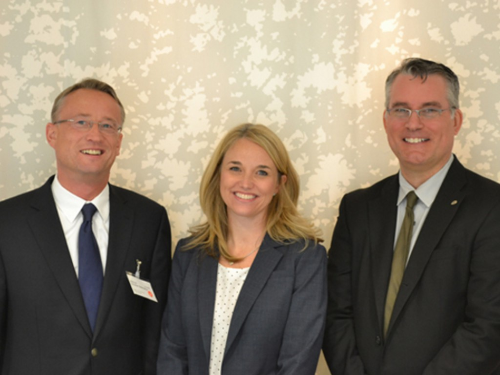 Left to right: Christian Glasmacher, Chair of UFI's Marketing Committee, Freeman's Molly Casey - VP Brand Marketing, and Tom Yurkin - VP Creative.